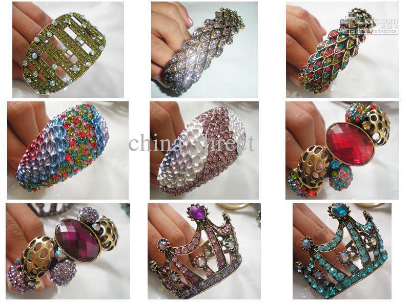 Brazalete de diamantes de imitación para mujer Brazalete cadena pulsera joyería joyería 20pcs / lot # 1001