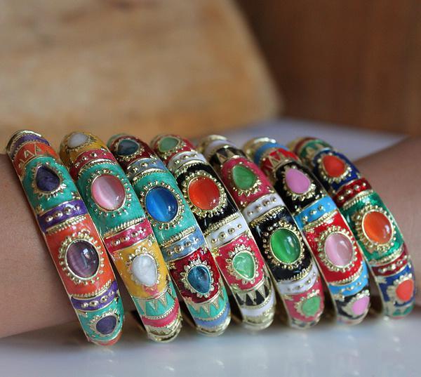Günstige Personalisierte Armbänder Einzigartige Breite 1,7 cm Mode Kupferlegierung CZ Cloisonne Schmuck 12 teile / paket