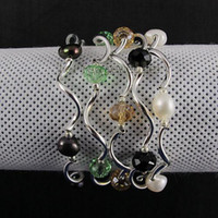 Wholesale Nice Aa - new AA nice color crystal fresh water pearl Elastic bracelet 7.5inch fashion woman's jewery A1406