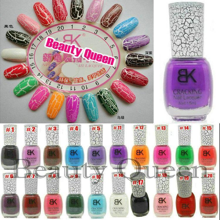 Wholesale NEW 40pcs/Lot 20 colors BK cracking Leopard crack crackle burst nail polish FREE SHIPPING