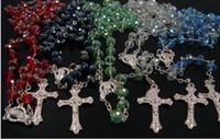 925 jesus kreuz großhandel-HOT 59 Kristall Perlen Rosenkranz 925 Silber Jesus Kreuz Halskette Schmuck Mix Auftrag 10pcs / lYDCG2
