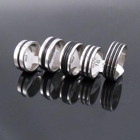 7.5mm Mäns Silver Tone Gummi Ring Rostfritt Stål Ringar Mode Smycken Massor blandas