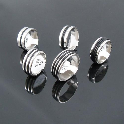 7.5mm Men's Silver Tone Rubber Ring Stainless Steel Rings Fashion Jewelry Mixed