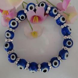 Wholesale Evil Eye Glass Beads Bracelet - Fashion 925 Silver 10mm Dark blue Evil Eye lampwork glass bead elastic bracelet Turkey bead TY03