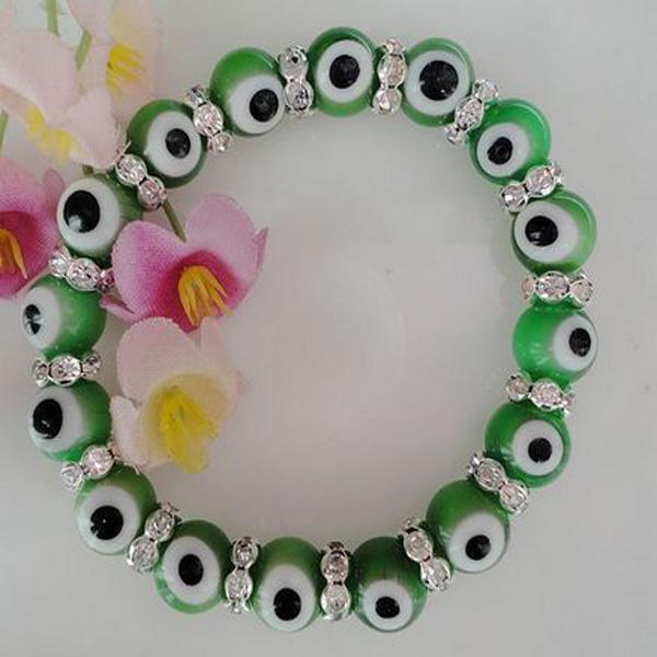 Nouvelle arrivée 10mm vert Evil Eye lampwork bracelet de perles de verre bracelet de perles européennes TY01 925 argent
