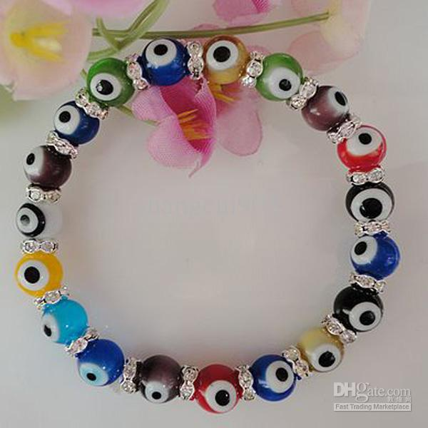 New arrival 10mm Green Evil Eye lampwork glass bead bracelet European bead bracelet TY01 925 Silver