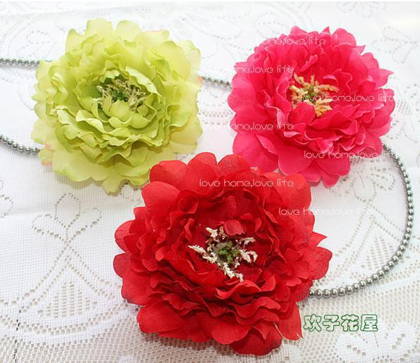 Silk Peony Flower Heads Dia. 14cm Artificial Flowers Single Head Peonia Rose flower ball and DIY Jewelry Accessories