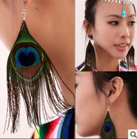 Wholesale Peacock Feather Charms - New Vintage Luxury Feather Dangle Peacock Earrings