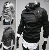 Wholesale Rabbit Men Coat - new HOT monde Korea Men's Hoodie Sweatshirts Rabbit Hair Collar Oblique Zipper plus size Men's Jacket men's Coats men's outwear black
