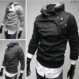Wholesale Regular Hair - new HOT monde Korea Men's Hoodie Sweatshirts Rabbit Hair Collar Oblique Zipper plus size Men's Jacket men's Coats men's outwear black