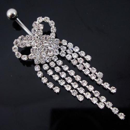 D0033  bowknot style discount body jewelry Belly Button Navel Rings CZ Stone Stainless Steel Piercing Jewelry