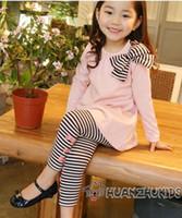 Wholesale Knot Long Sleeve Girl Shirts - Girl's long sleeve stripe Butterfly knot T-shirt + Girl stripe Butterfly knot Leggings 5pcs
