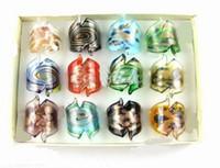 Wholesale Lampwork Glass Rings Wholesale - Fashion 24pcs lot Murano Colorful Glass Ring mixed Design Lampwork GlazedXC-YDCG6