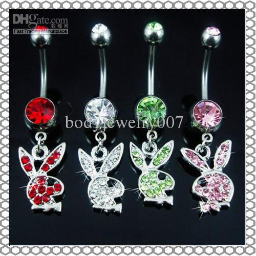 D0354 Belly Button Navel Rings Body Piercing Jewelry Dangle Accessories Fashion Charm Rabbit CZ 20Pcs/Lot