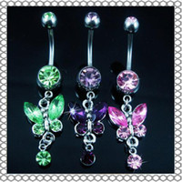 Wholesale fashion belly rings - D0347( 6 colors ) mix colors Belly Button Navel Rings Body Piercing Jewelry Dangle Accessories Fashion Charm Butterfly 10Pcs Lot