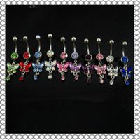 nombril papillon piercing achat en gros de-D0347 (6 couleurs) mélanger les couleurs nombril anneaux nombril piercing bijoux balancent accessoires mode charme papillon 20pcs / lot