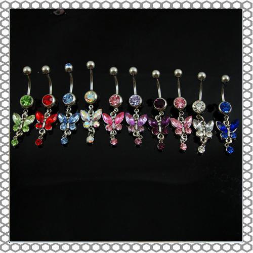 D0347 (6 couleurs) mélanger les couleurs nombril anneaux piercing nombril bijoux balancent accessoires mode charme papillon 20pcs / lot