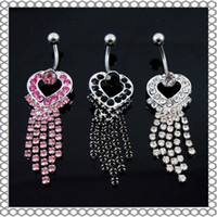 Wholesale Dangling Body Piercing - D0107 Belly Button Navel Rings Body Piercing Jewelry Dangle Accessories Fashion Charm Claw Chain 10Pcs Lot