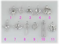 Wholesale Brass Locket Charm - WG47 Teboer Jewelry 10pcs LOT mixture 18KGP love wish pearl charm locket pendants cages