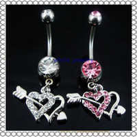 Wholesale Love Dangle Belly Button Rings - 0361 body piercing jewelry Belly Button Navel Rings Body Piercing Jewelry Dangle Accessories Fashion Charm Cupid Love 10Pcs Lot