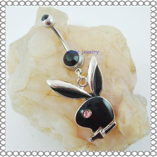 D0233 3 цвета красивые стили пупка Navel Кольца Пирсинг ювелирные изделия качают аксессуары Мода живота кулон кролика Шарм