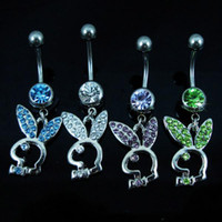 Wholesale Fashion Belly Rings - D0255 piercing body jewelry Belly Button Navel Rings Body Piercing Jewelry Dangle Accessories Fashion Charm Rabbit 10PCS