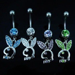Wholesale Wholesale Christmas Bells - D0255 piercing body jewelry Belly Button Navel Rings Body Piercing Jewelry Dangle Accessories Fashion Charm Rabbit 10PCS
