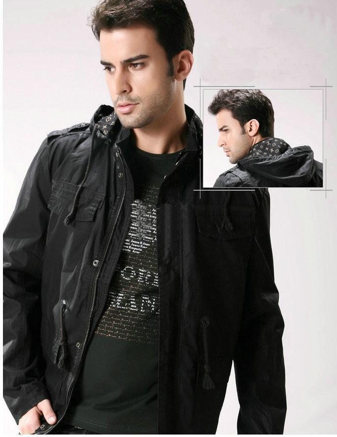 Classic Men's Jacket Men's Casual Hooded Jacket Color: Black ...
