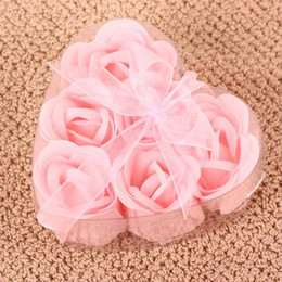 Wholesale Color Box Petal - 6 in 1 flower Soap set hardmade rose petals flower paper soap Pink 20 Box = 120pcs choose color