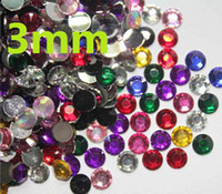 Wholesale Decorations For Nails - 2500pcs 3mm 3D Mixed Colors Nail Art Decoration Rhinestones For nail art