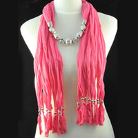 Wholesale Neck Scarf Pendants Jewelry - women jewelry beads pendant scarf necklace multi strand design silver charms neck scarf for her gift NL-1334C