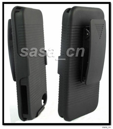 Wholesale Shell Holster Combo - Rubber Shell Case Cover and Holster Combo with Swivel Belt Clip and Vertical Stand For iPhone 4 4G