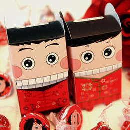 Chinês noiva noivo favor caixas on-line-100 pcs POPO MOMO noiva noivo casamento nupcial favor caixa de presente de doces Estilo Chinês