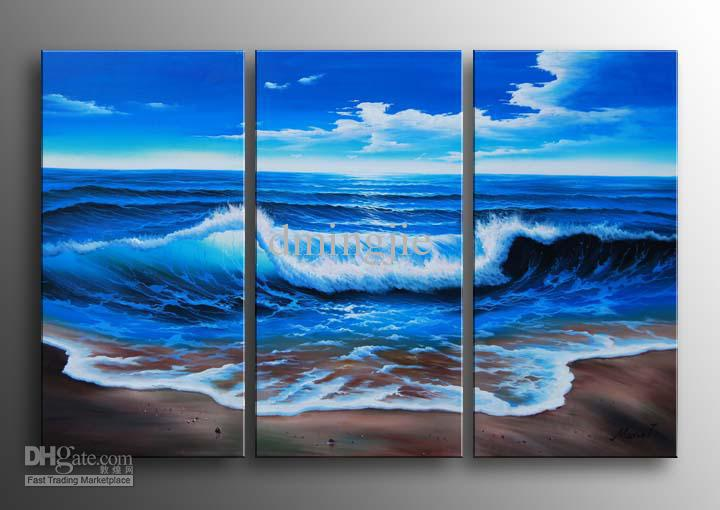 Amazing 2018 Hand Painted Wall Art Blue Ocean Landscape Oil Paintings On Canvas  12x24inch Mixorde Framed From Bestart, $25.21 | Dhgate.Com