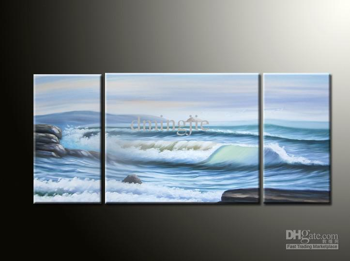 2018 Hand Painted Oil Wall Art The Seaside Wave Landscape Oil ...