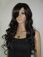 Wholesale Kanekalon European - Brown long curly Kanekalon Synthetic hair Wig full WIG 10pcs lot