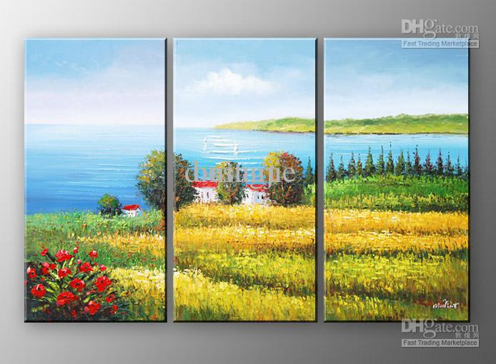 2018 Hand Painted Wall Art Blue Beach Landscape Oil Paintings On ...