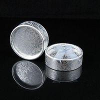 Wholesale Silver Tone Jewelry Box - Jewelry Display Round Shaped Velvet Ring Box Silver Tone 48pcs lot