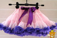 Wholesale Multicolor Tutus - Multicolor Little Girls Tutu Skirt Chiffon Purple Layered Party Wear Lace Dresses 2-7Y 12 Designs Kids Clothes Free Shipping