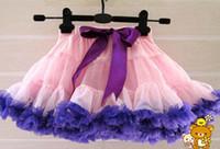robes de soirée multicolores achat en gros de-Multicolore Petites filles Tutu jupe en mousseline de soie violet couches couches porter des robes de dentelle 2-7Y 12 conceptions enfants vêtements livraison gratuite