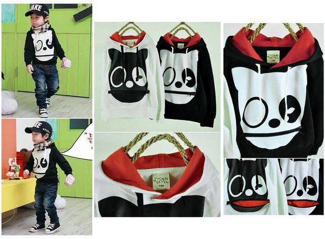 2017 Boys/Girls'cute Hoodies White/Black Cotton Sweatshirts Hooded ...