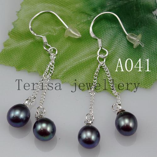 Groothandel parel oorbel zwarte kleur 6.5mm lengte 1.8-2inch 925 zilveren dangle parels oorbel.A041