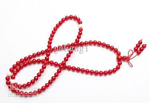Tibetan Buddhist prayer beads,6 mm natural red coral beads 108 beads.