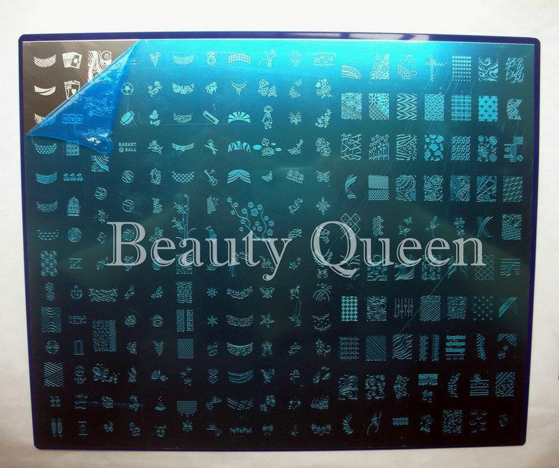 221Diseños * Placa grande #B Nail Art Kond Stamp Stamping BIG Image Plate Plantilla de plantilla FRANCESA NUEVO