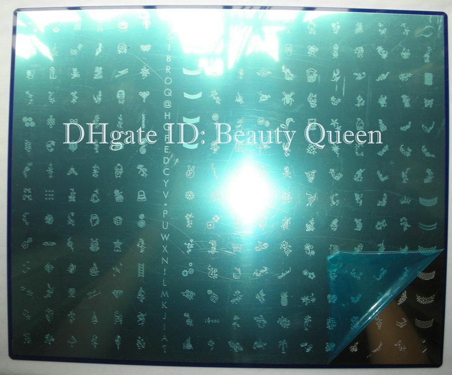 489 diseños! Gran sello de uñas Placa de estampado Arte de uñas GRAN Placa de imagen Plantilla Plantilla de metal DIY A + B