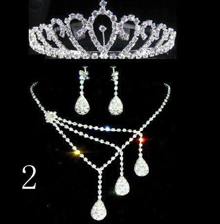 2017 9Styles Hot sell Three-piece Bridal Accessories Tiaras Hair Necklace Earrings Accessories Wedding Jewelry Sets Hot
