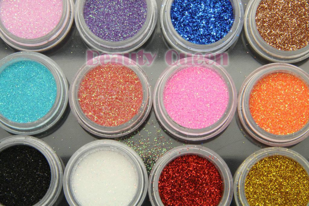 25 세트 / 몫 12 색 네일 아트 반짝이 먼지 분말 프로 UV 아크릴 젤 장식 팁 * 무료 배송