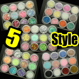 Wholesale Glitter Sheeting - 5 style Nail Art Round Glitter Sheet Lace Glitter Powder Crashed Shell Powder Mylar Sheet Decoration