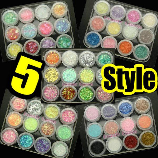 top popular 5 style Nail Art Round Glitter Sheet Lace Glitter Powder Crashed Shell Powder Mylar Sheet Decoration 2020