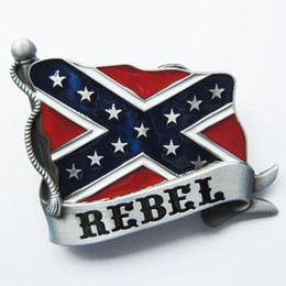 Discount novelty rebel flags New Vintage Enamel Confederate Rebel Banner Flag Belt Buckle Gurtelschnalle Boucle de ceinture Free Shipping BUCKLE-WT00